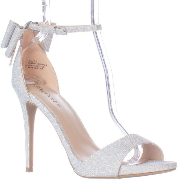 ZIGI Remi Ankle Strap Bow Heel Dress Sandals, Silver
