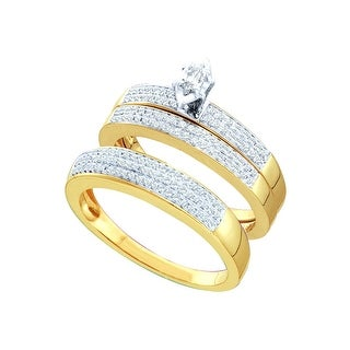 10k Yellow Gold Marquise Diamond Solitaire Mens Womens His Hers Matching Trio Wedding Bridal Set 1/2 Ctw - White