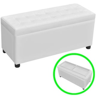 vidaXL Storage Ottoman Artificial Leather White