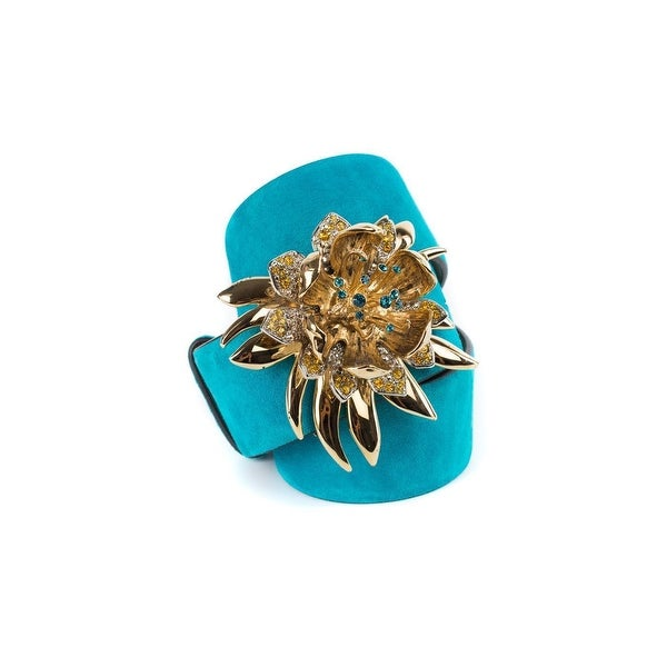 Cavalli Turquoise Suede Belt with Embellished Flower Buckle
