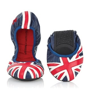 Women's Butterfly Twists Faux Leather Ballet Flats - Union Jack - British Flag Shoes - 36