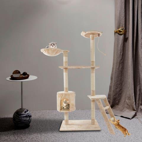 "60"" Solid Cute Plush Cat Climb Tree Cat Tower - Beige"