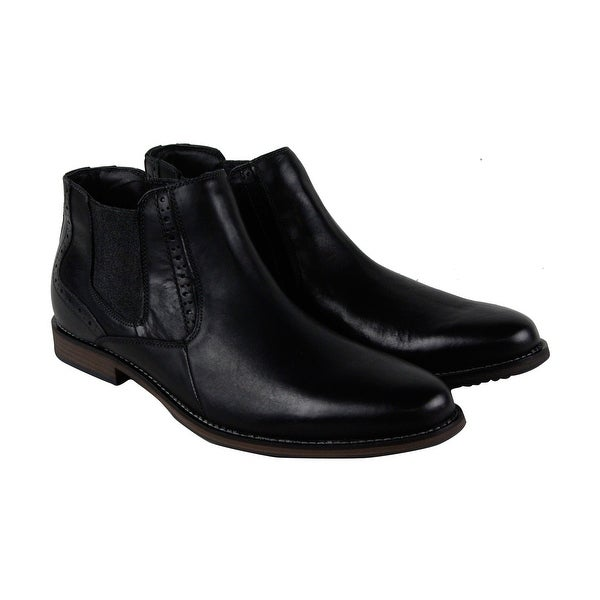Steve Madden Paxton Mens Black Leather Casual Dress Slip On Boots Shoes