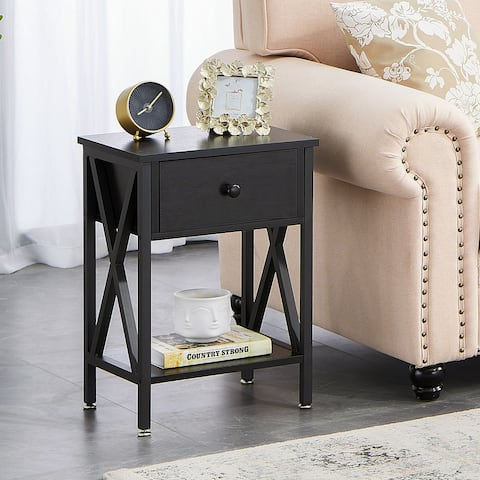VECELO 1-Drawer End Table/Nightstands with Storage and Open Shelf - 15.8''x11.8''x21.7''