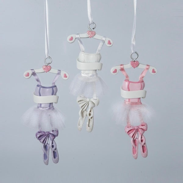 """Set of 3 Pink, White and Purple Ballet Dress on a Hanger Christmas Ornaments 4.75"""" - multi"""