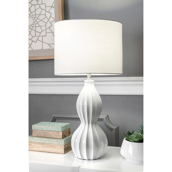 """nuLOOM 30-inch Venus Cream Ceramic Linen Shade Table Lamp - 18"""" h x 9"""" w x 9""""d. Opens flyout."""