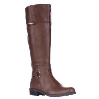 A35 Jadah Tall Wide Calf Riding Boots - Cognac