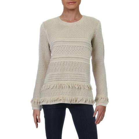 Chelsea & Theodore Womens Sweater Fringe Crewneck - Cabin Craft