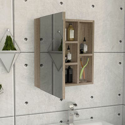 TUHOME Labelle Medicine Wall Cabinet with Mirror