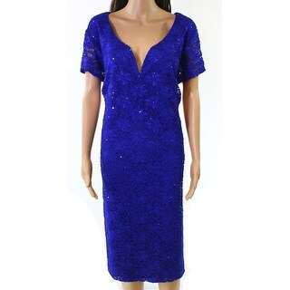 Connected Apparel Blue Womens Size 22W Plus Lace Sheath Dress