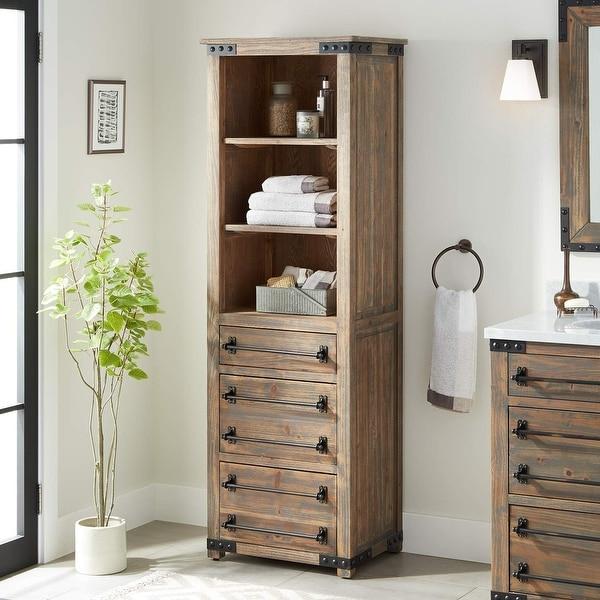 Shop signature hardware 441295 bonner 72 1 8 wood free - Free standing linen cabinets for bathroom ...