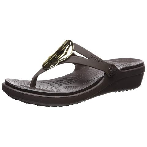 Crocs Womens Sanrah Liquid Split Toe Casual Slide Sandals