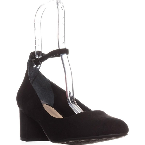 B35 Pansy Ankle Strap Kitten Heels, Black
