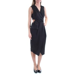 Womens Black Sleeveless Below The Knee Faux Wrap Evening Dress Size: 2