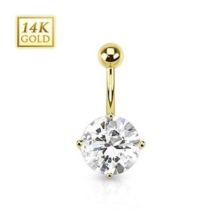 14 Karat Solid Yellow Gold Cubic Zirconia Round Prong Set Navel Belly Button Ring
