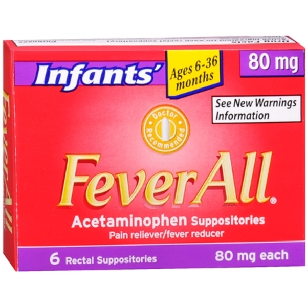 FeverAll Infants' 80 mg Rectal Suppositories 6 Each