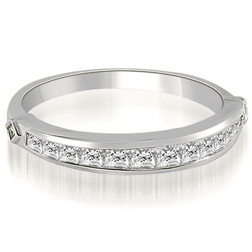 0.60 cttw. 14K White Gold Classic Channel Set Princess Cut Diamond Wedding Band
