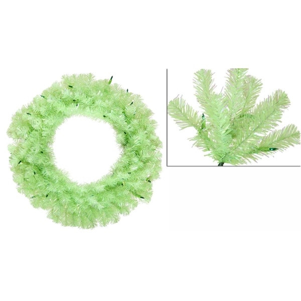 "24"" Pre-Lit Chartreuse Green Wide Cut Artificial Christmas Wreath - Green Lights"