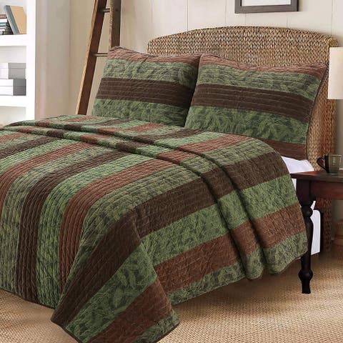 Cozy Line Rhett Brown Leaf Reversible Quilt Set