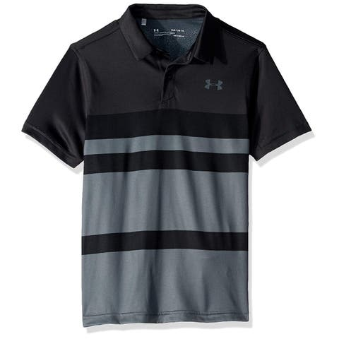 Under Armour Tour Tips Engineered Polo, Jet Gray//Pitch, Black, Size Youth Large - Youth Large