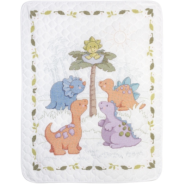 "Cuteasaurus Crib Cover Stamped Cross Stitch Kit-34""X43"""