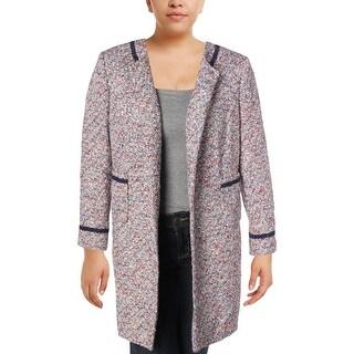 Tahari Womens Plus Jacket Metallic Front Patch Pockets