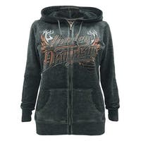 Harley-Davidson Women's Eagle Invincible Full-Zip Burnout Fleece Hoodie, Gray