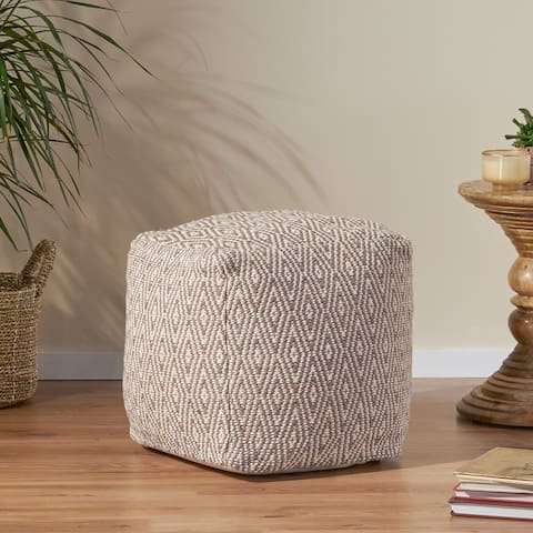 Boven Hand-Crafted Cotton Cube Pouf by Christopher Knight Home