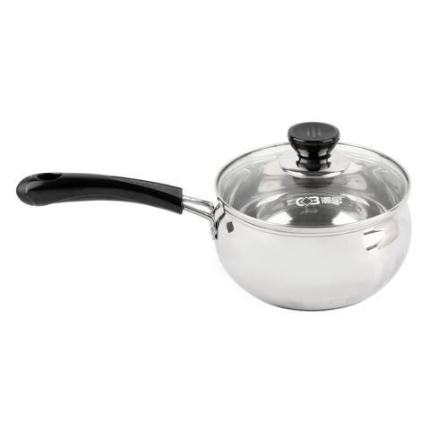 Family Plastic Handle Milk Porrige Soup Noodles Food Cooking Pot 16cm Diameter