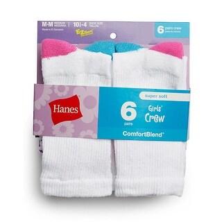 Hanes Girls' Crew Socks 6-Pack - L