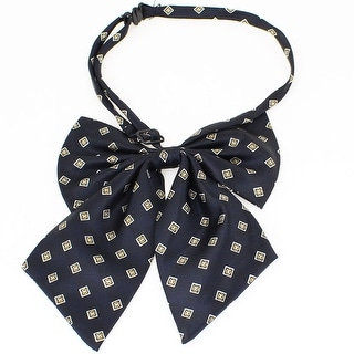 Unique Bargains Women 15cm Height Small Squares Bowknot Halter Neck Neckwere Ornament Navy Blue