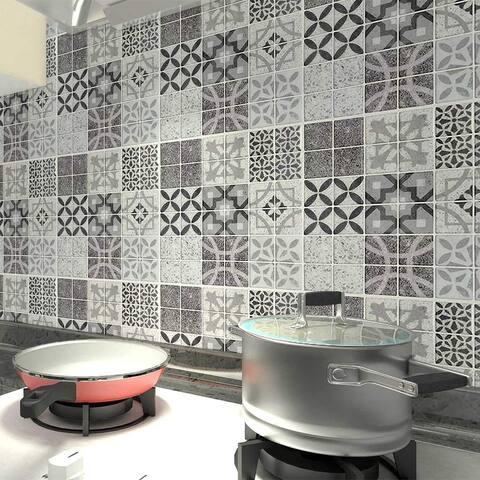 """Art3d 12""""x12"""" Vinyl Peel and Stick Backsplash Tile (10-Pack) Gray Talavera Mexican Style"""
