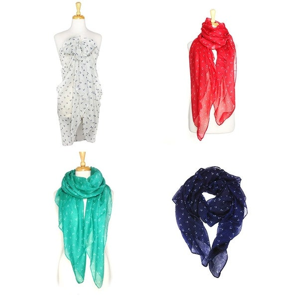"Fashion Lightweight Scarves 4pcs. Pack - 35""x70"""