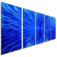 Statements2000 Blue Abstract Metal Wall Art Painting by Jon Allen - Blue Vortex