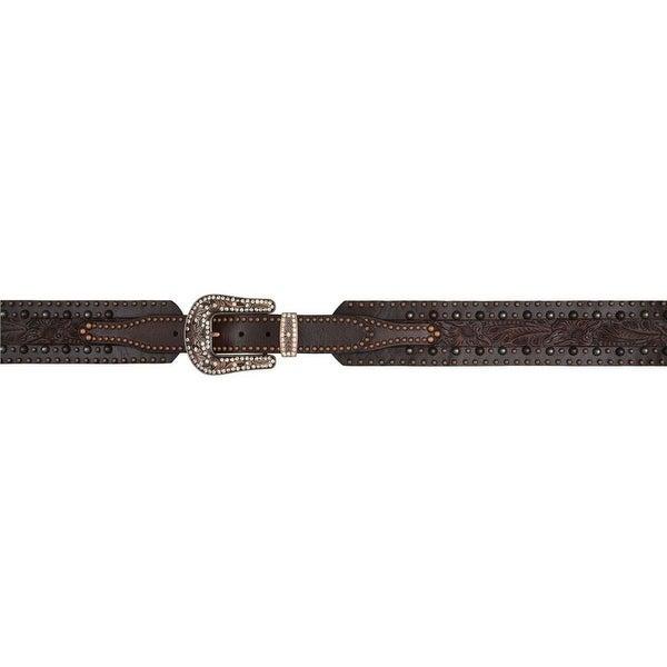 Angel Ranch Western Belt Womens Leather Crystals Dark Brown