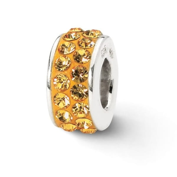 Sterling Silver Reflections Orange Double Row Swarovski Elements Bead (4mm Diameter Hole)