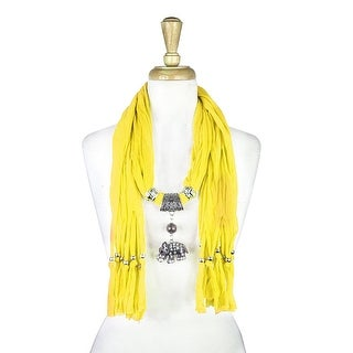 "Handmade Womens Charm Elephant Pendant Rhinestone Jewelry Scarf - Yellow - 72"" long"