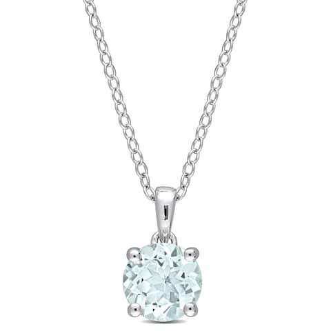 Miadora Aquamarine Solitaire Birthstone Necklace in Sterling Silver