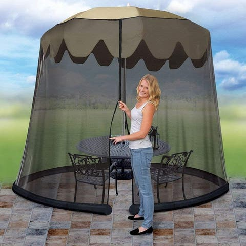 Ideaworks Outdoor Umbrella Table Screen, Black