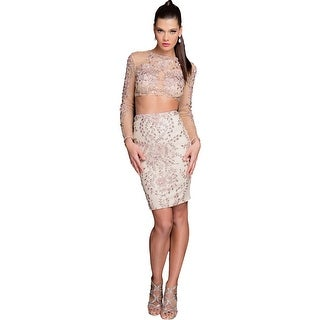 Terani Couture Beaded Two Piece Crop Top Dress