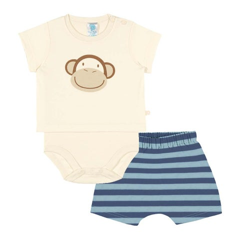 Baby Boy Outfit Bodysuit and Shorts Set Pulla Bulla Sizes 3-12 Months