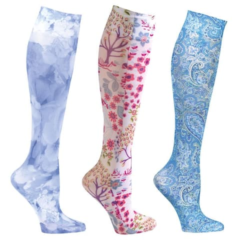 Women's Moderate Compression Wide Calf Knee High Support Socks - 3 pair