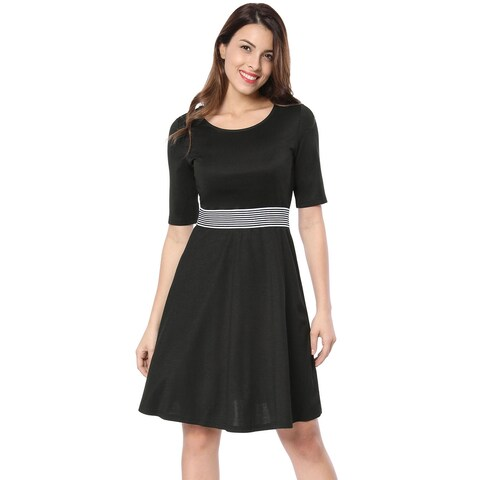 Allegra K Women Contrast Striped Elastic Waist Flare Dress