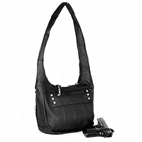 Top Grain Leather Locking Concealment Purse Ccw Concealed Carry Gun Handbag Black