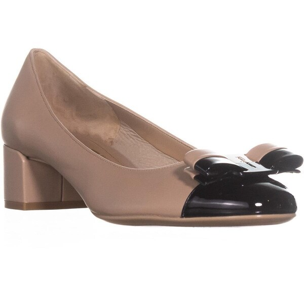 0cf330d06be Shop Salvatore Ferragamo Elea Block Heel Pumps, Nero Patent - On ...