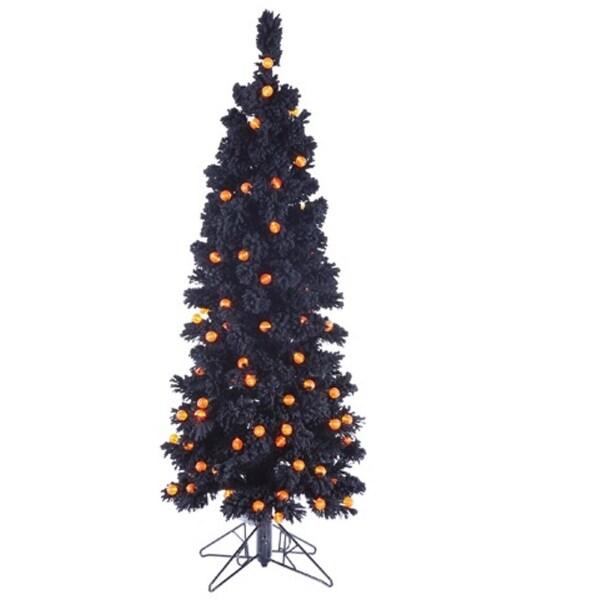 4.5' Pre-Lit Flocked Black Artificial Halloween Tree - Orange G25 LED Lights