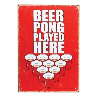 """Beer Pong Played Here! - Funny Red Aluminum Metal Wall Sign - 8 1/2"""" x 11"""""""