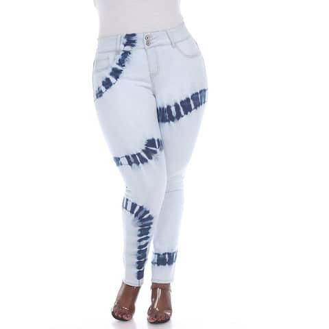 White Mark Women's Plus Size Tie Dye Light Blue Denim