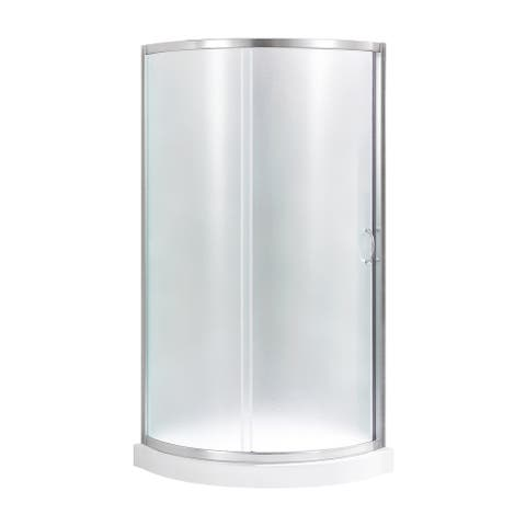 OVE Decors Breeze 32 in. Satin Nickel Shower Kit with Frosted Glass Panels and Base included