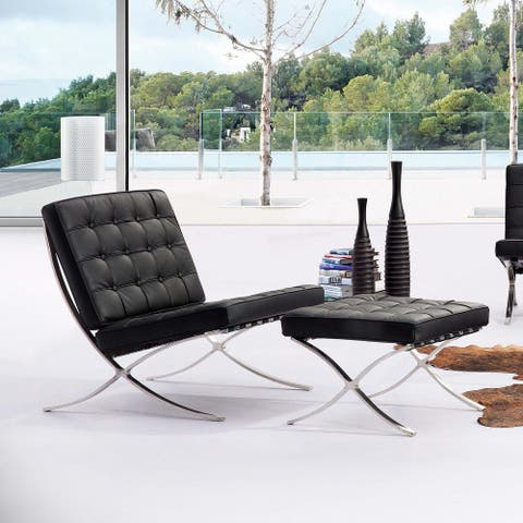 Pavilion Leather & Stainless Steel Barcelona Ottoman - Contract Grade